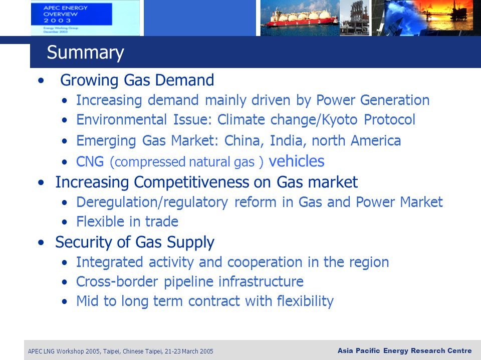 Summary Growing Gas Demand Increasing Competitiveness on Gas market