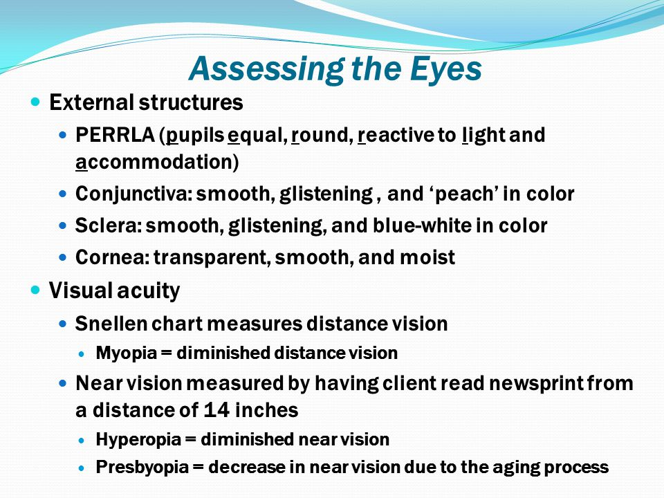 Assessing the Eyes External structures Visual acuity