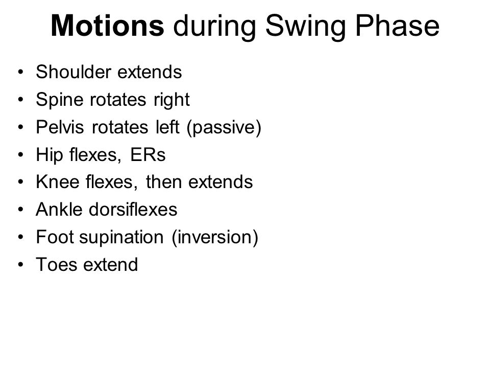 Motions during Swing Phase