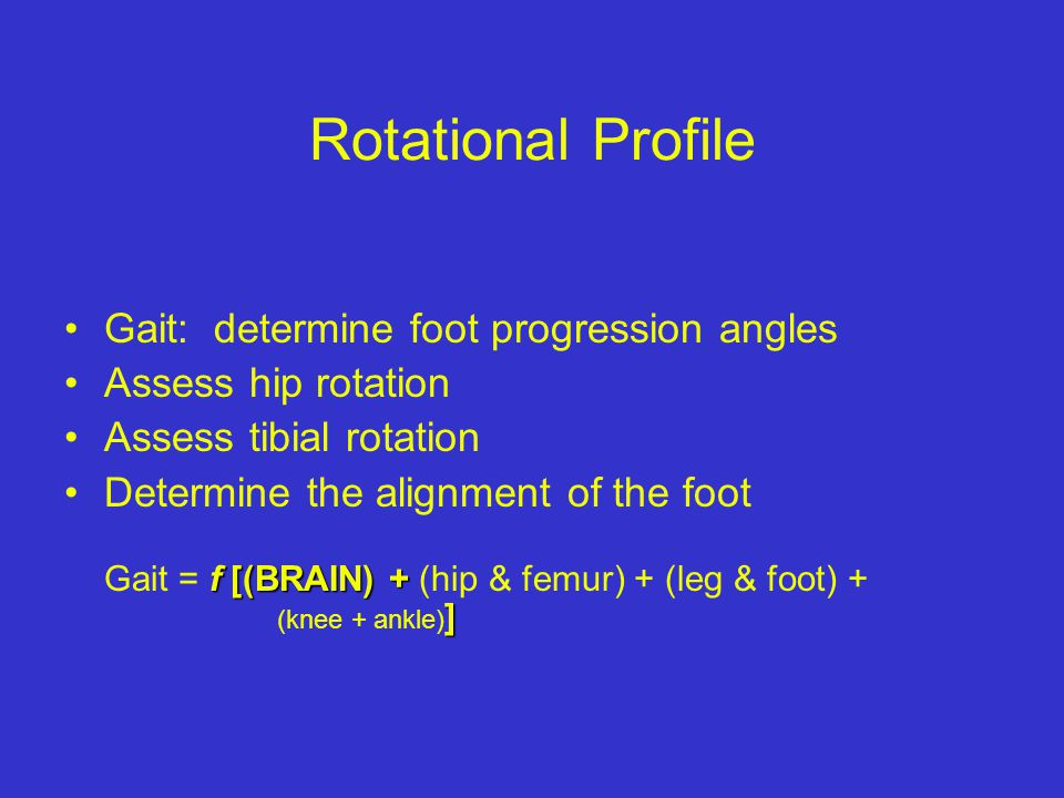 Rotational Profile Gait: determine foot progression angles