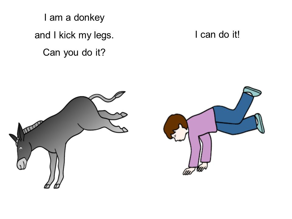 I am a donkey and I kick my legs. Can you do it I can do it!