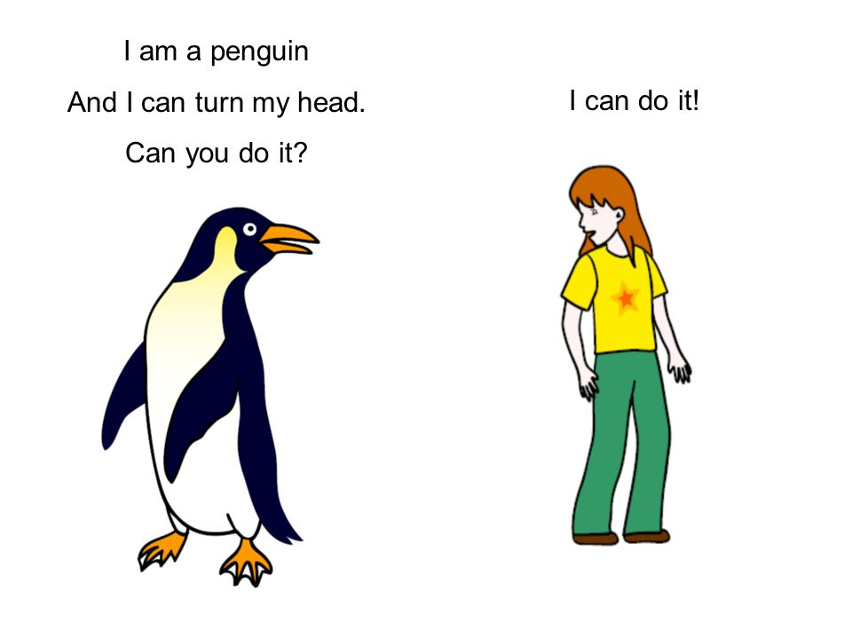 I am a penguin And I can turn my head. Can you do it I can do it!