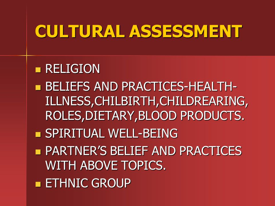 CULTURAL ASSESSMENT RELIGION