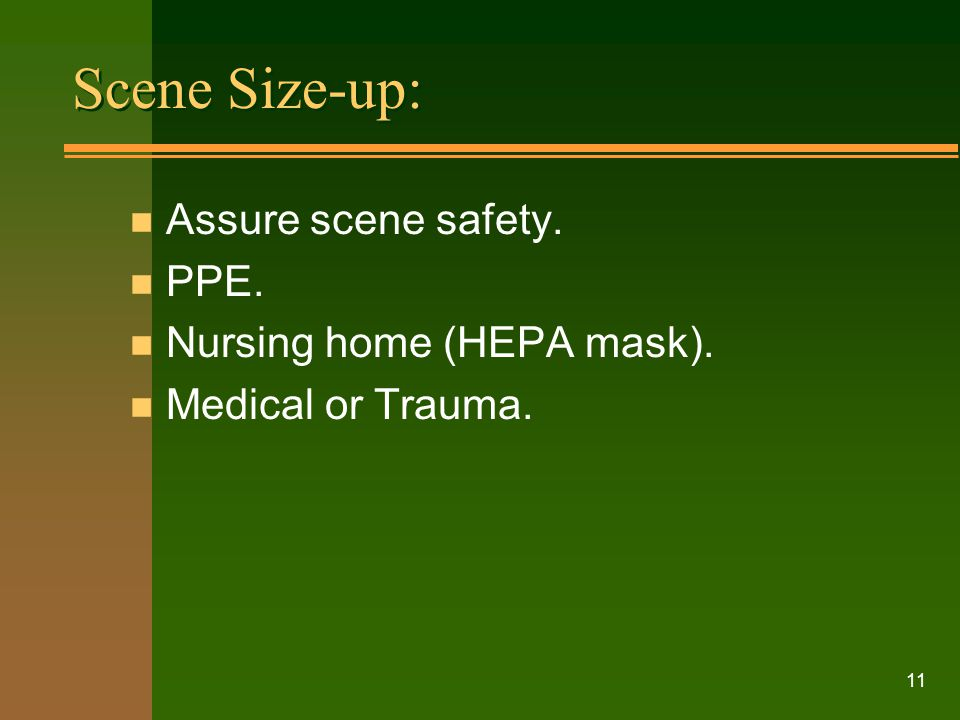 Scene Size-up: Assure scene safety. PPE. Nursing home (HEPA mask).