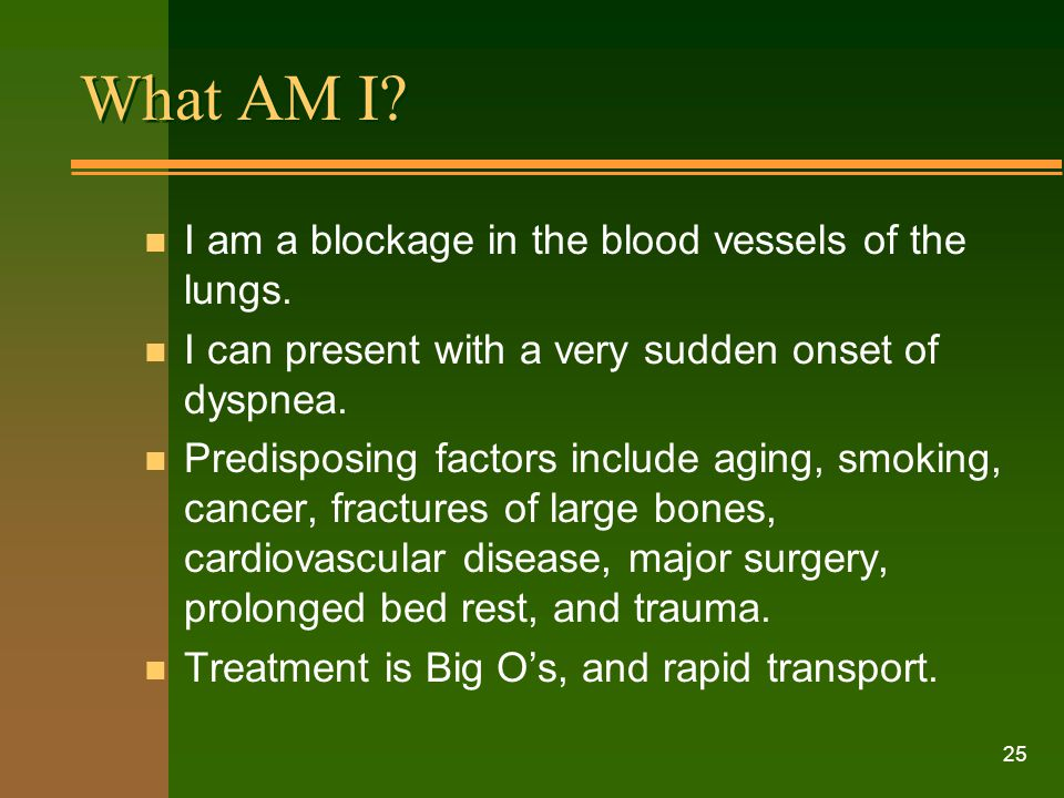 What AM I I am a blockage in the blood vessels of the lungs.