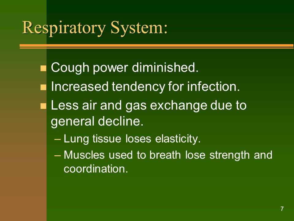 Respiratory System: Cough power diminished.
