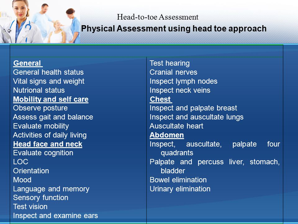 Physical Assessment using head toe approach