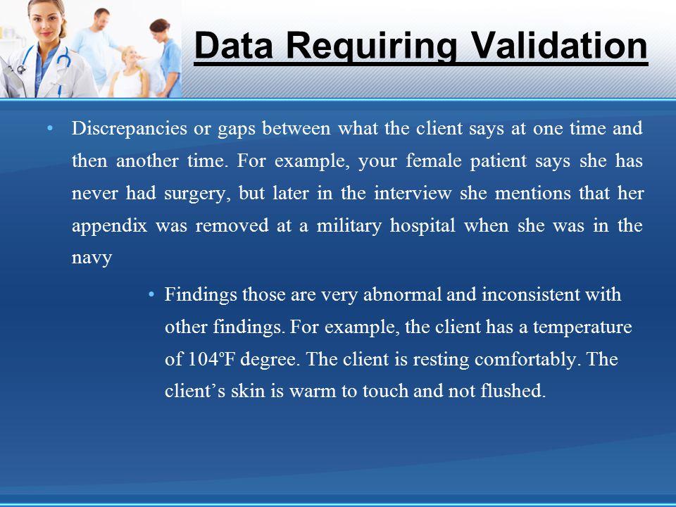 Data Requiring Validation