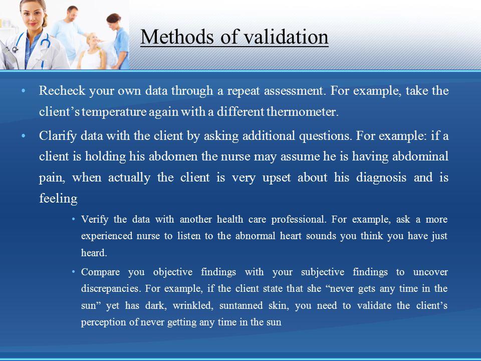 Methods of validation
