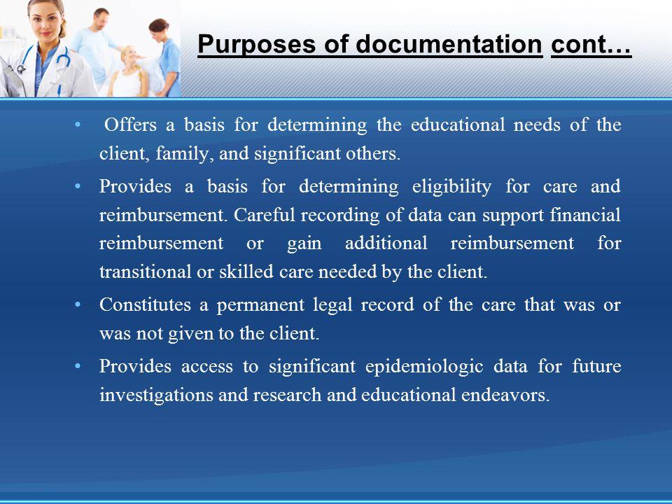 Purposes of documentation cont…