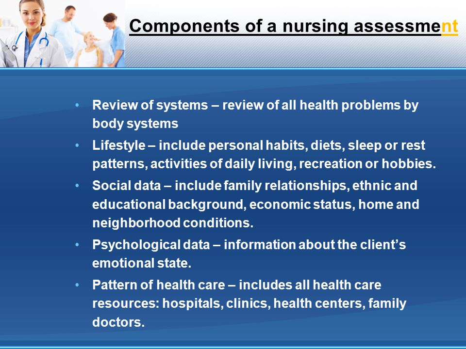 Components of a nursing assessment