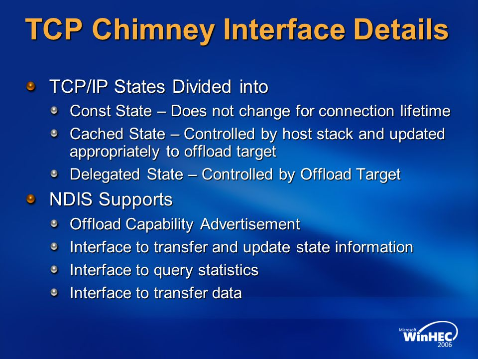 TCP Chimney Interface Details