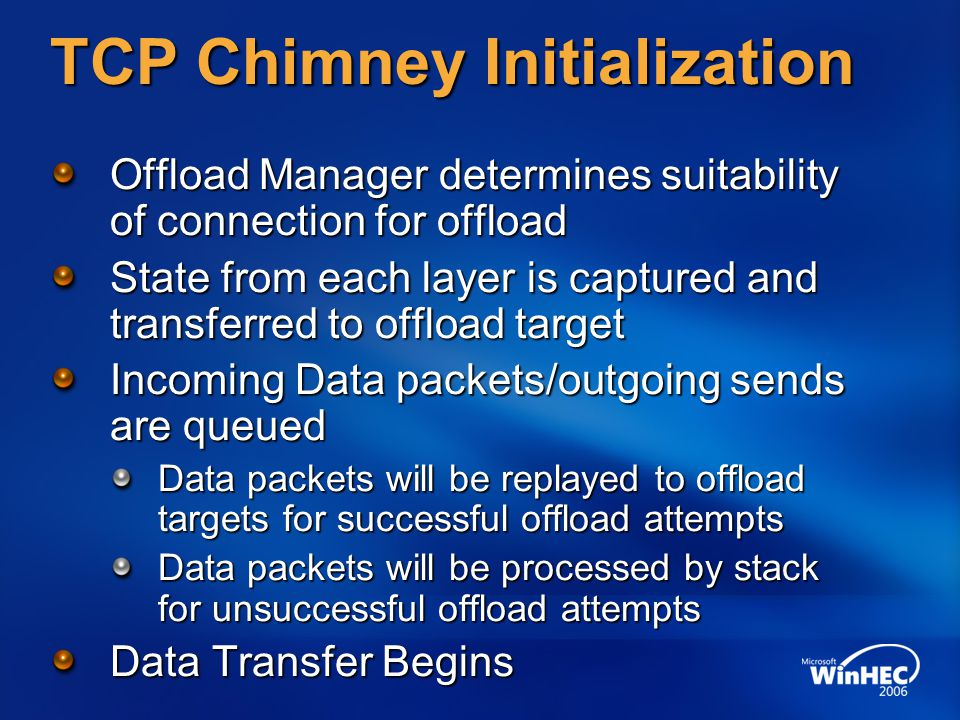 TCP Chimney Initialization
