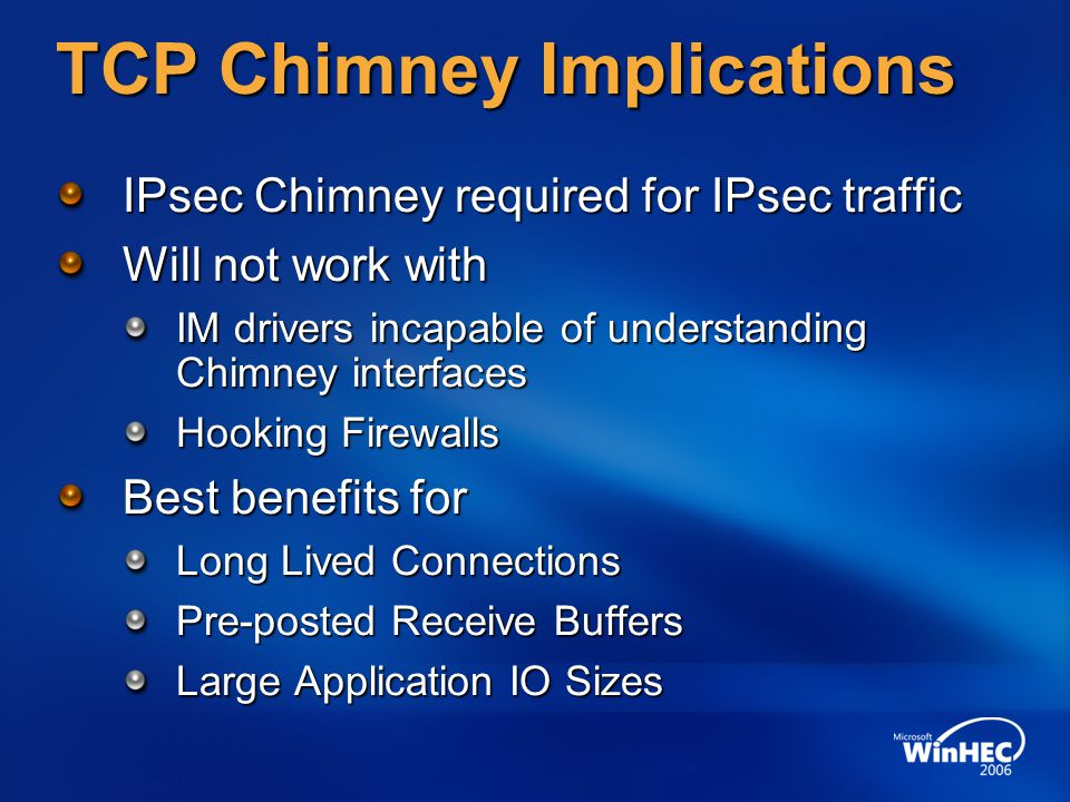 TCP Chimney Implications