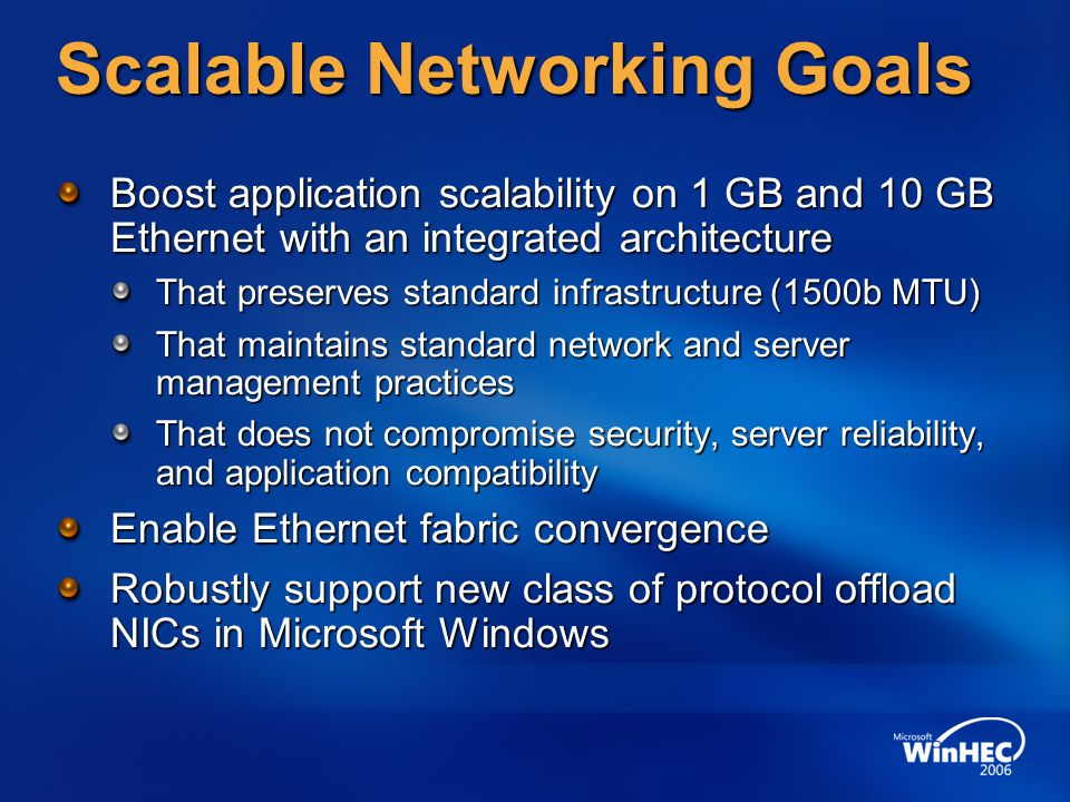 Scalable Networking Goals