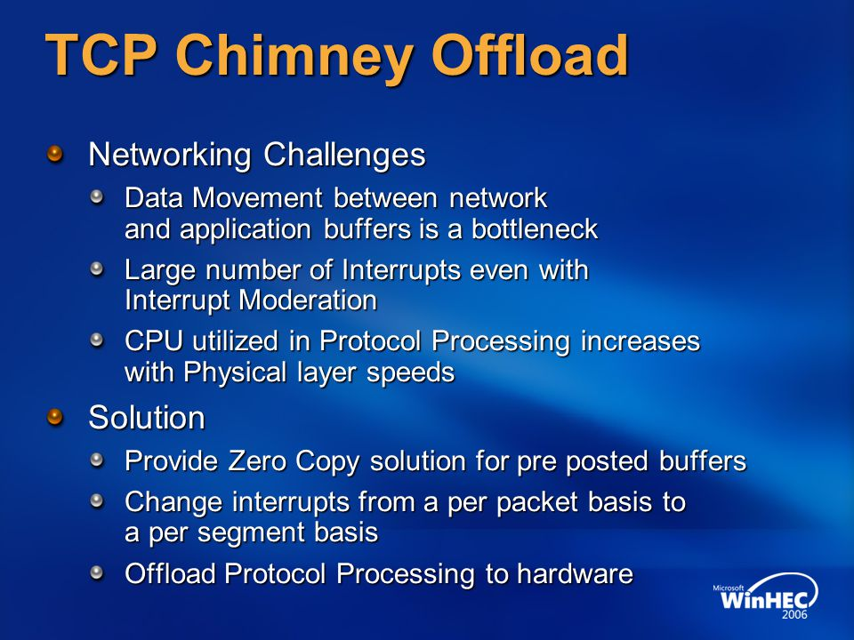 TCP Chimney Offload Networking Challenges Solution