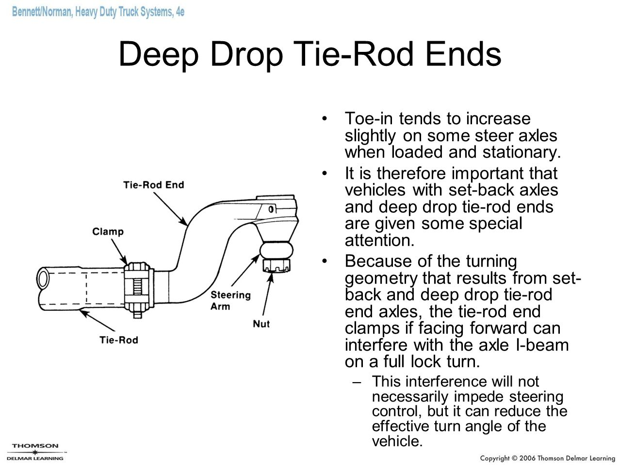 Deep Drop Tie-Rod Ends Toe-in tends to increase slightly on some steer axles when loaded and stationary.