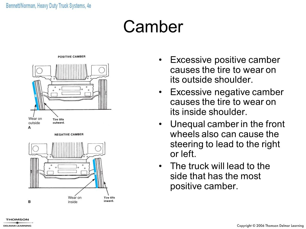 Camber Excessive positive camber causes the tire to wear on its outside shoulder.