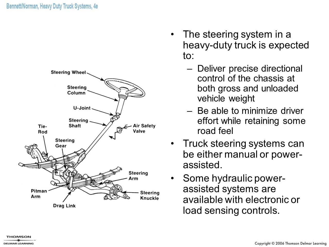 The steering system in a heavy-duty truck is expected to: