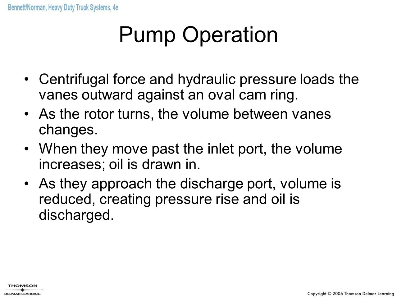 Pump Operation Centrifugal force and hydraulic pressure loads the vanes outward against an oval cam ring.