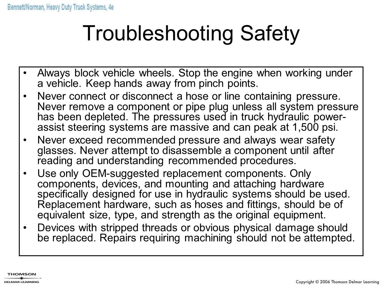 Troubleshooting Safety