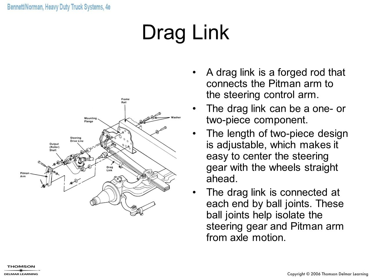 Drag Link A drag link is a forged rod that connects the Pitman arm to the steering control arm. The drag link can be a one- or two-piece component.