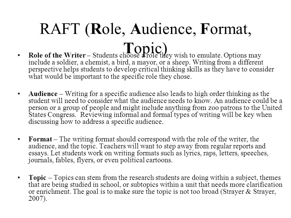RAFT (Role, Audience, Format, Topic)