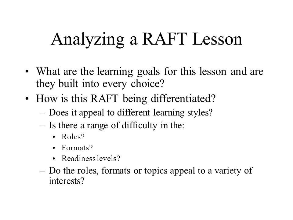 Analyzing a RAFT Lesson