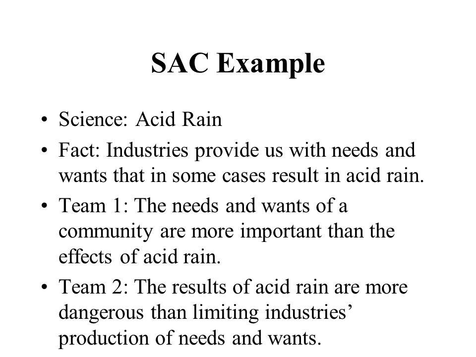 SAC Example Science: Acid Rain