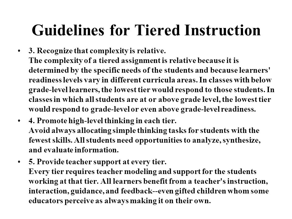 Guidelines for Tiered Instruction