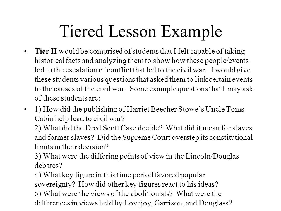 Tiered Lesson Example