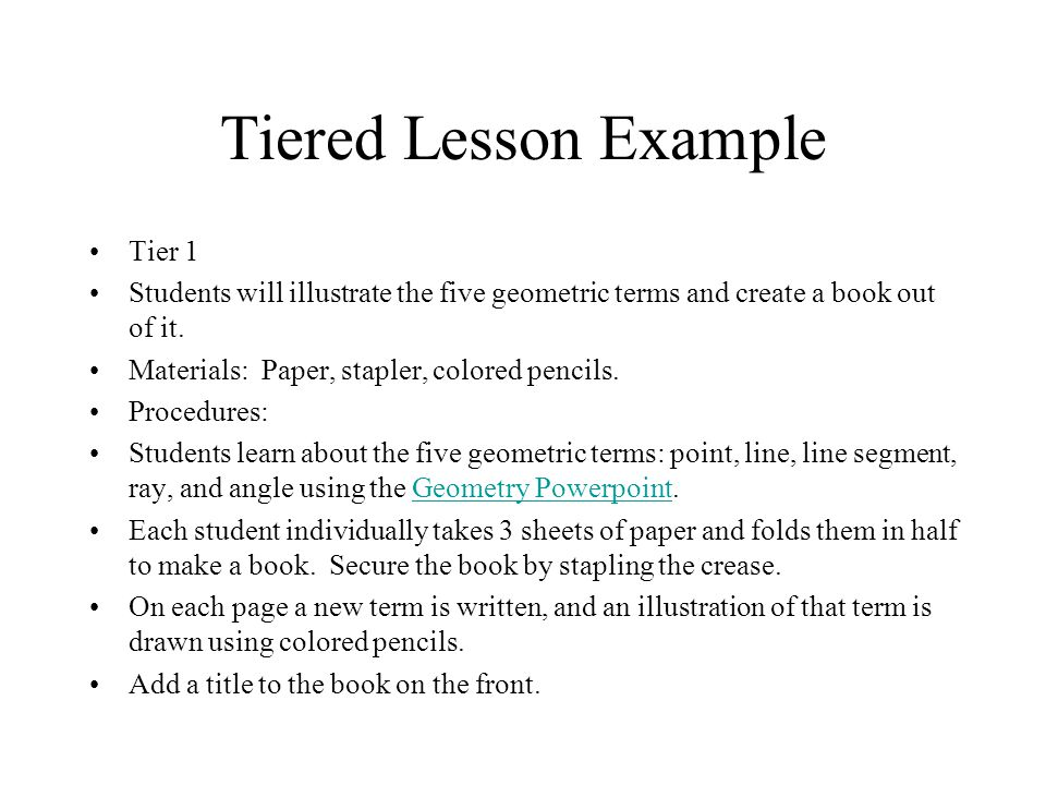 Tiered Lesson Example Tier 1
