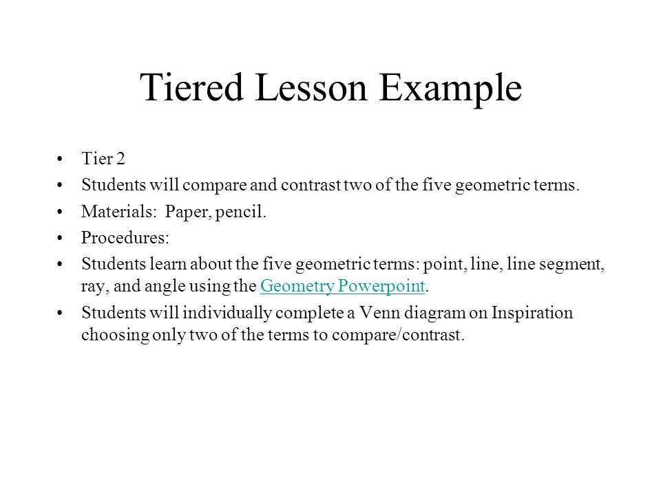 Tiered Lesson Example Tier 2