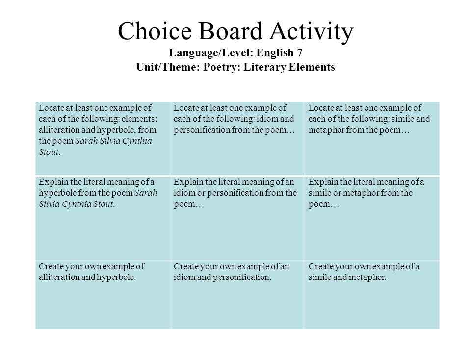 Choice Board Activity Language/Level: English 7 Unit/Theme: Poetry: Literary Elements