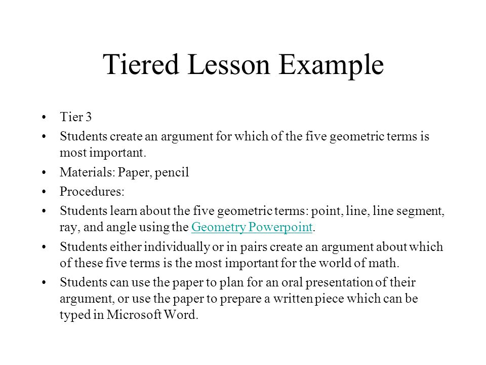 Tiered Lesson Example Tier 3