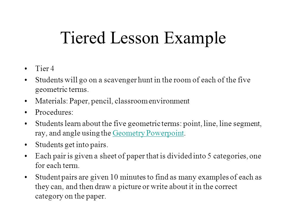 Tiered Lesson Example Tier 4