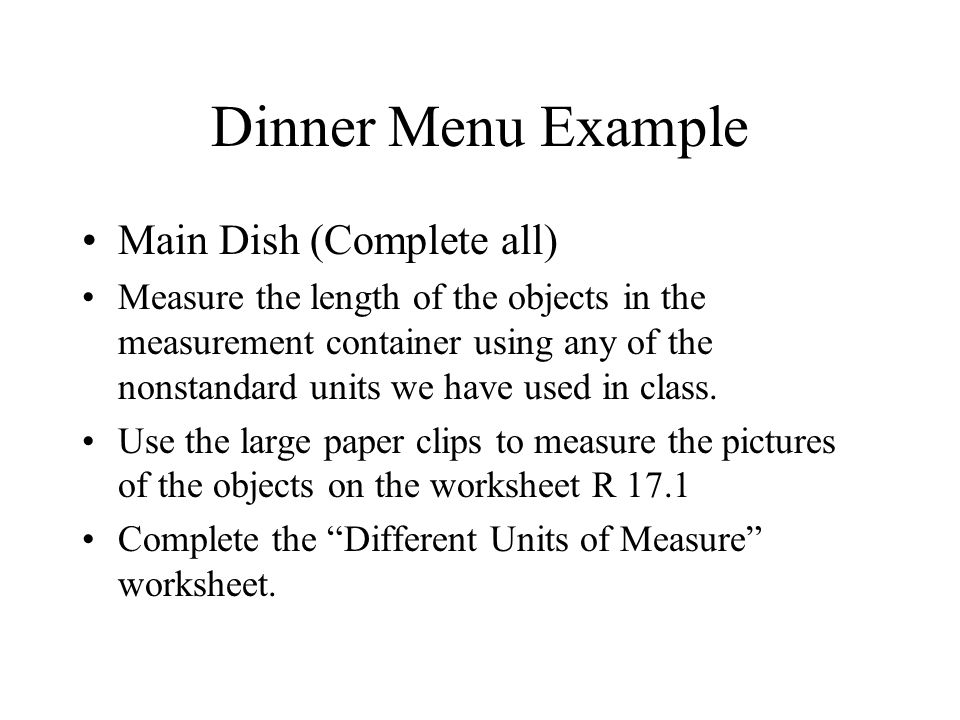 Dinner Menu Example Main Dish (Complete all)