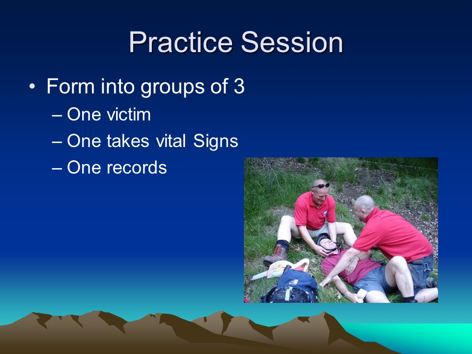 Practice Session Form into groups of 3 One victim