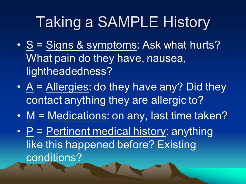 Taking a SAMPLE History