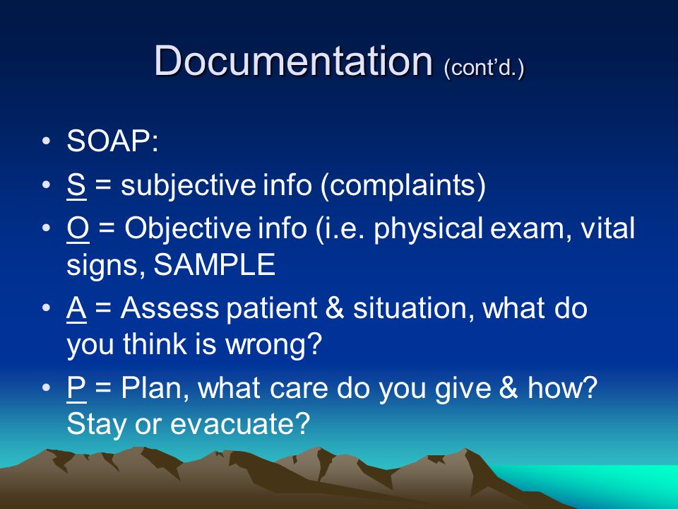 Documentation (cont'd.)