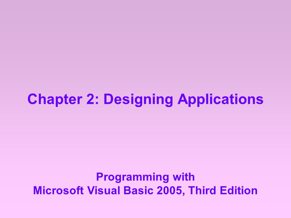Chapter 2: Designing Applications