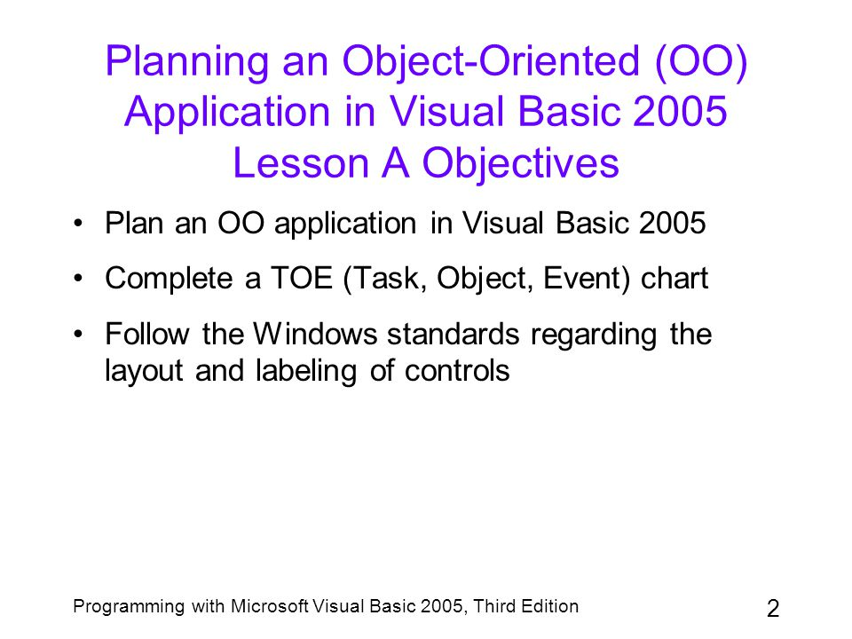 Planning an Object-Oriented (OO) Application in Visual Basic 2005 Lesson A Objectives