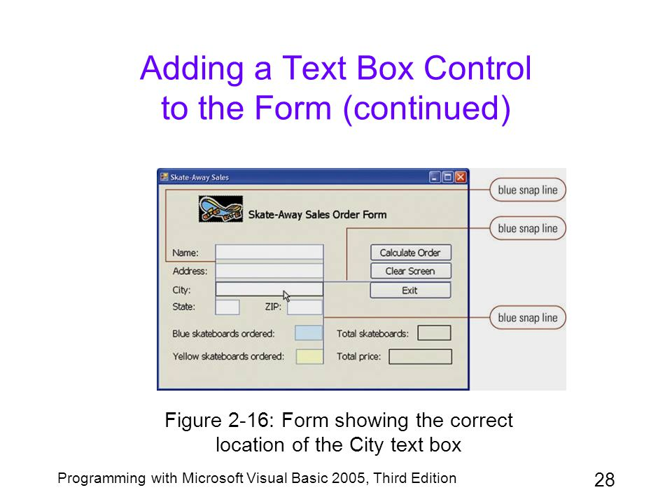 Adding a Text Box Control to the Form (continued)