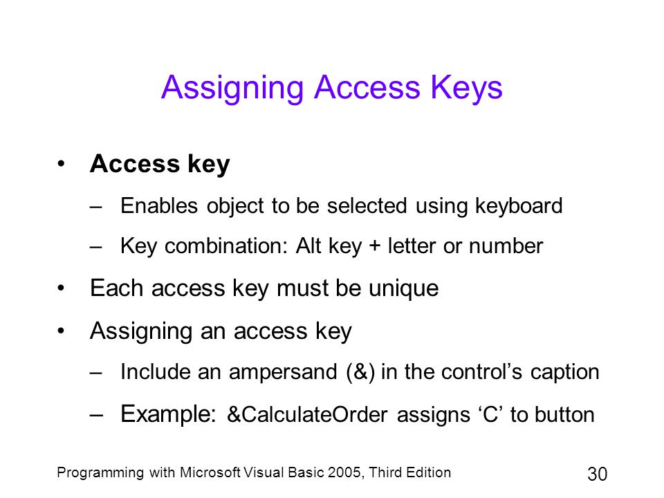 Assigning Access Keys Access key Each access key must be unique