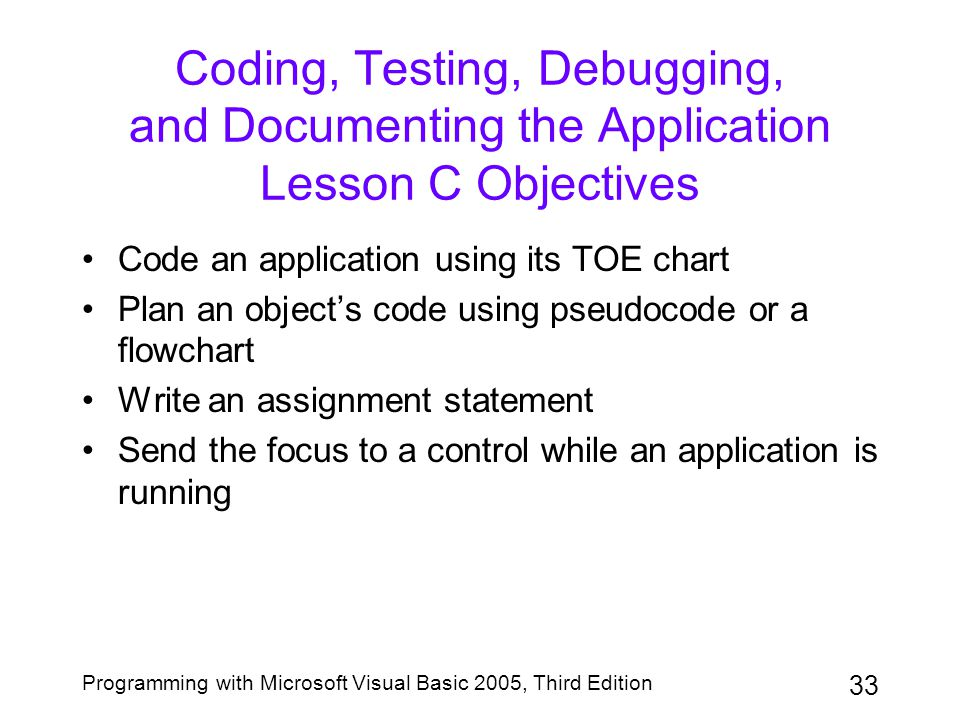 Coding, Testing, Debugging, and Documenting the Application Lesson C Objectives
