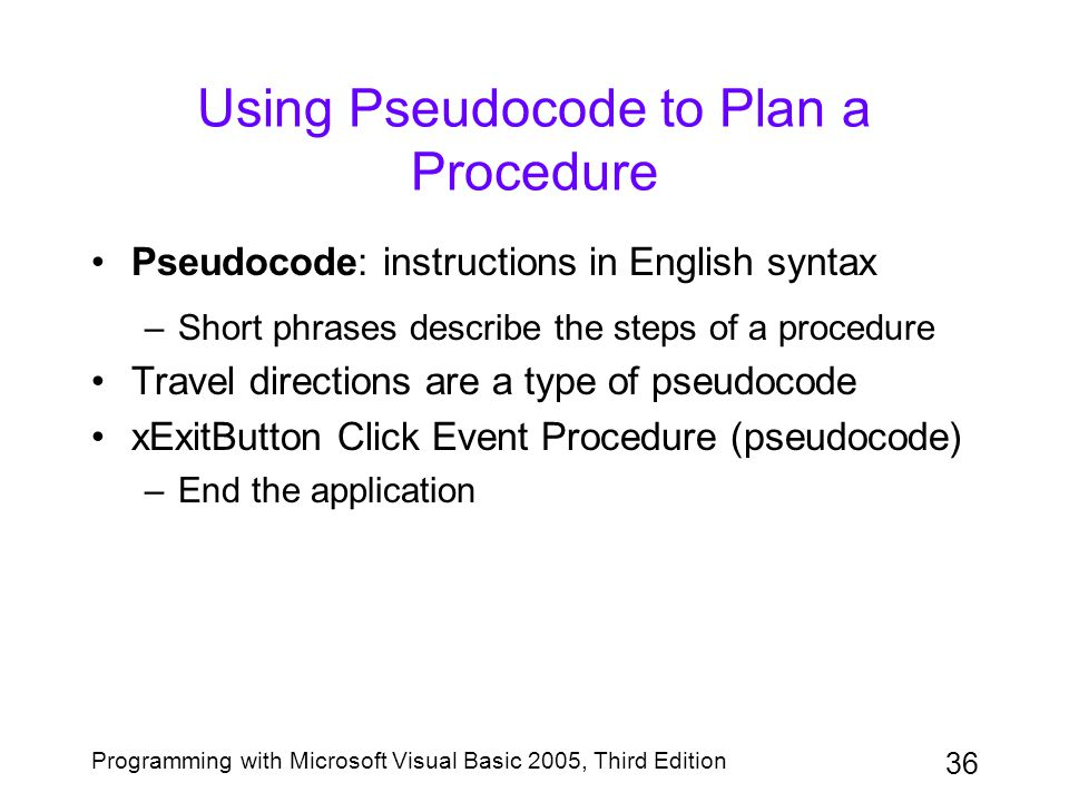 Using Pseudocode to Plan a Procedure