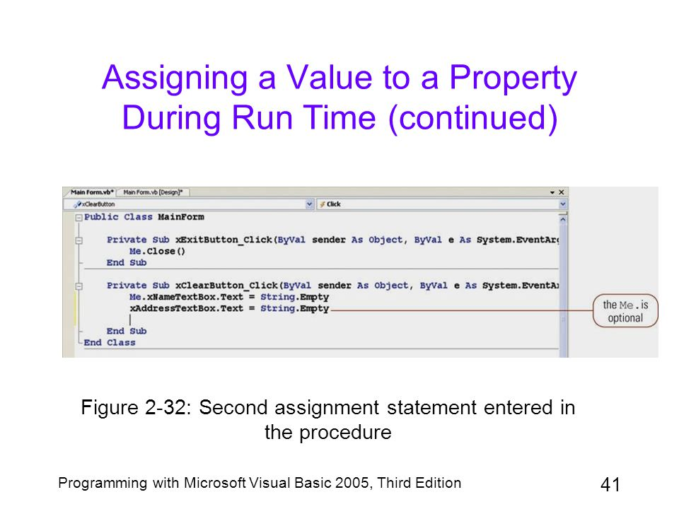 Assigning a Value to a Property During Run Time (continued)