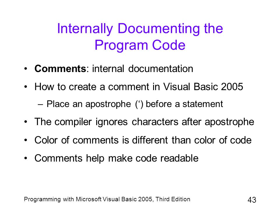 Internally Documenting the Program Code