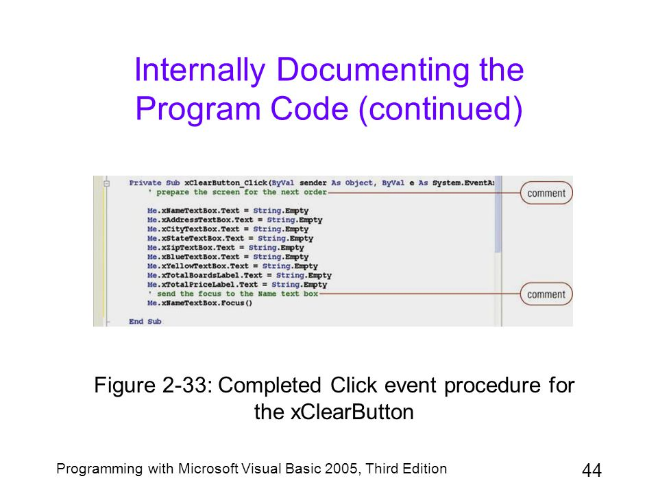 Internally Documenting the Program Code (continued)
