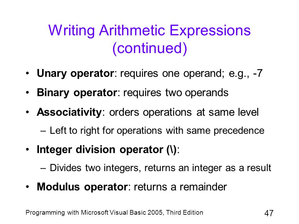 Writing Arithmetic Expressions (continued)